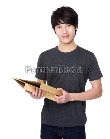 asian young man hold with folder