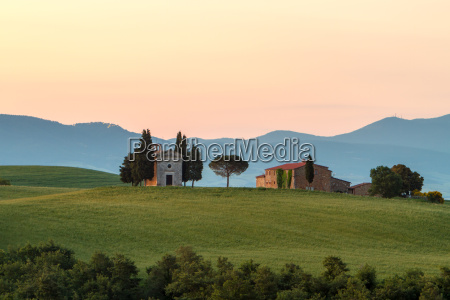 chapel in tuscany at sunrise