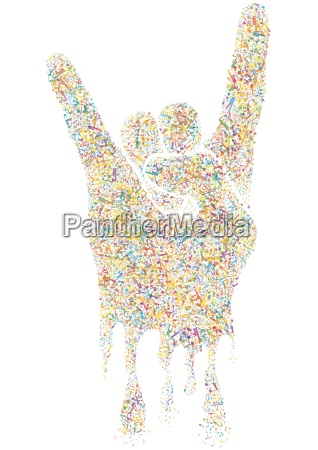 multicolored musical rock gesture