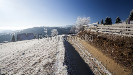 winter dirt road on the top