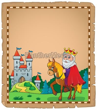 pergament, med, konge, på, hest, tema - 16328655