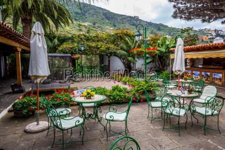 solrig, terrasse, med, stole, og, en - 16356297