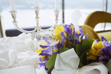 table decorated for a wedding reception