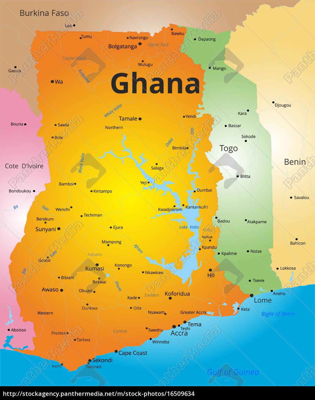 Farvekort Af Ghana Stockphoto 16509634 Panthermedia