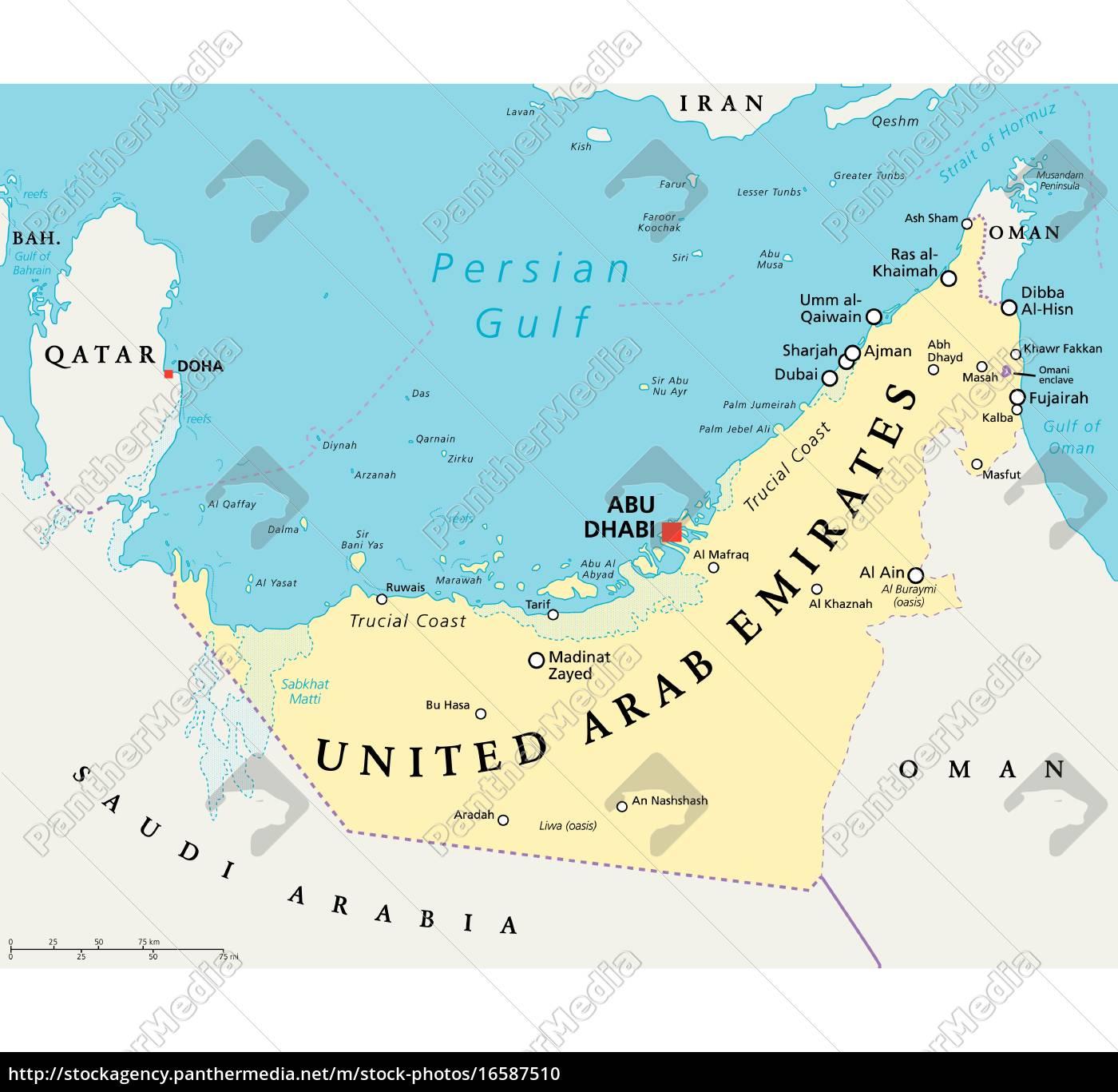 Uae De Forenede Arabiske Emirater Politisk Kort Stockphoto
