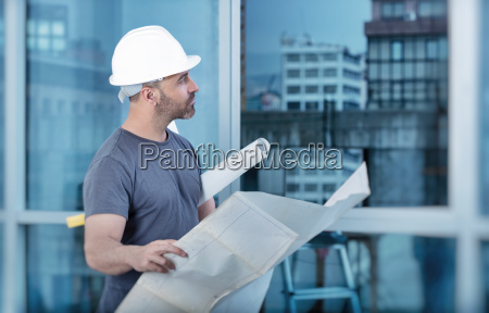 arkitekt bygherre studere layout plan af