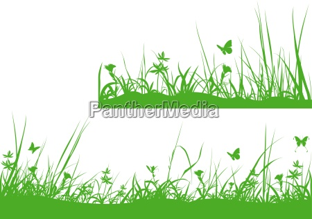 green meadow silhouette