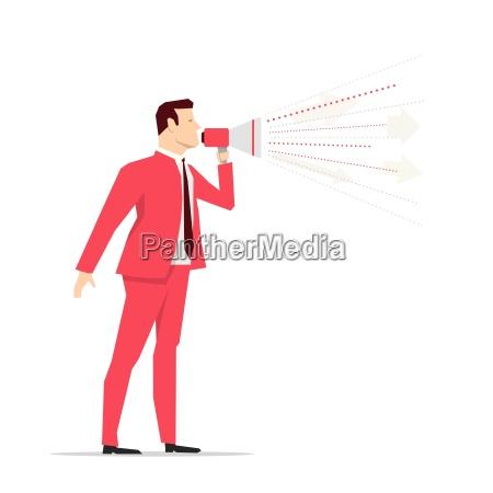 roddragt forretningsmand megafon vektor koncept illustration