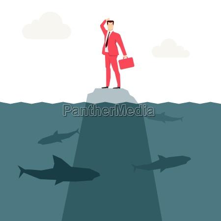 red suit forretningsmand og hajer vektor
