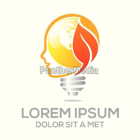 logo lampe hoved ikon blad ide