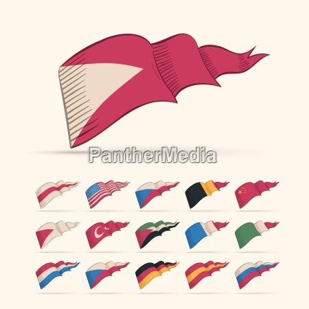 forskellige vektor nationale trekant flag sat
