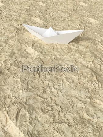 3d rendering papirbad pa sand