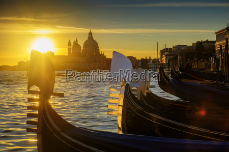 italy veneto venice gondolas at sunset