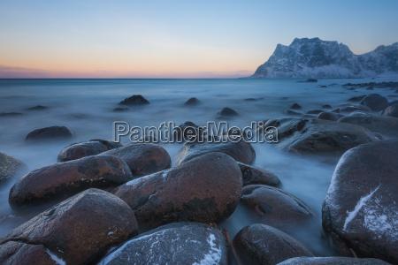 norway lofoten islands utakleiv beach at