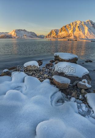 norway lofoten islands sunset on a