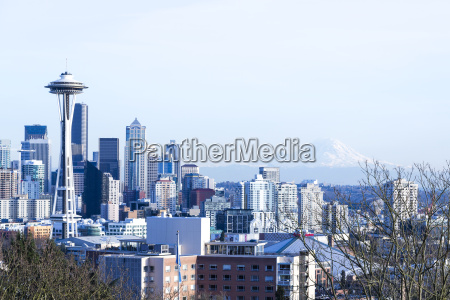 usa washington seattle cityscape with space