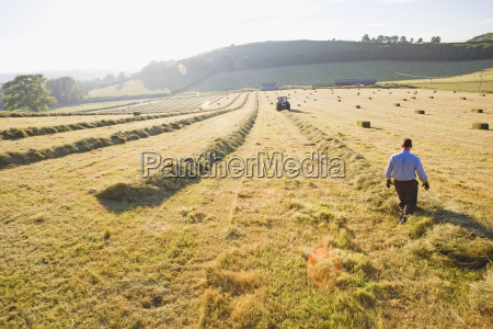 tractor and farmer baling hay in