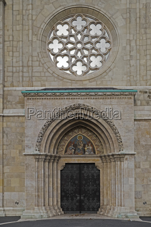 entrance and rose window of matthias