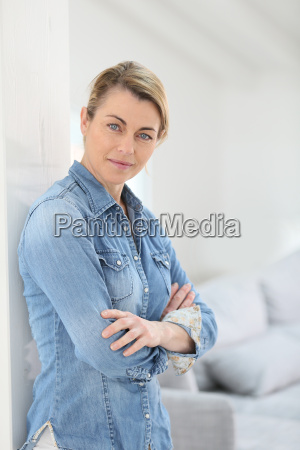 portrait of attractive mature blond woman
