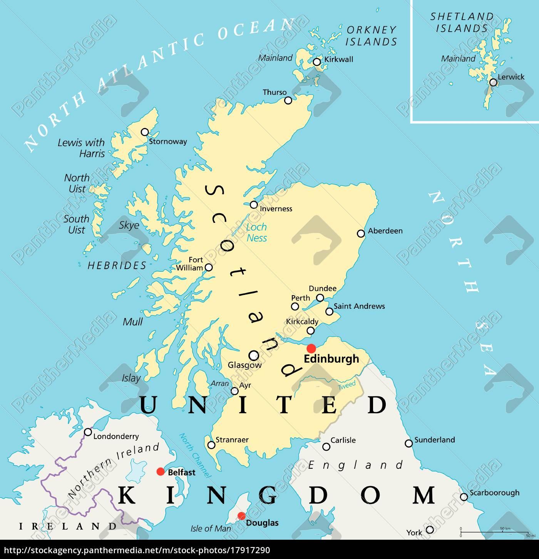Skotland Politisk Kort Stockphoto 17917290 Panthermedia