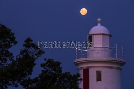 mersey bluff lighthouse against full moon