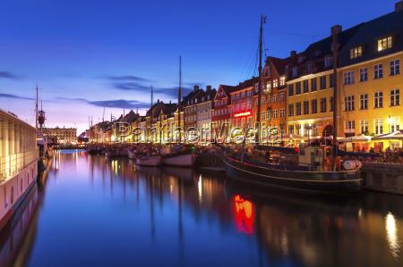 denmark copenhagen view of historic boats