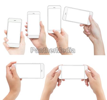 hand der holder hvide telefon isoleret