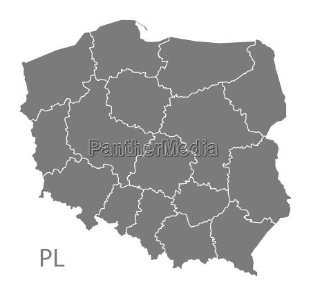 kort over polen med regioner gra