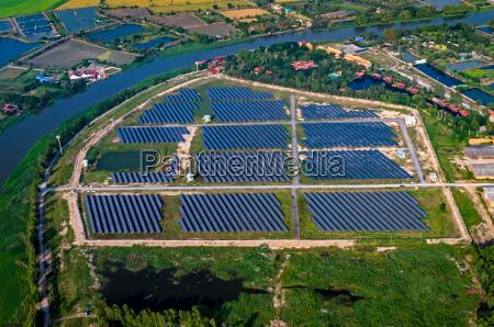 solar farm solar panels aerial photography