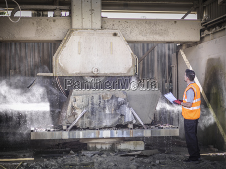 quarry arbejdstager inspicere sten sav