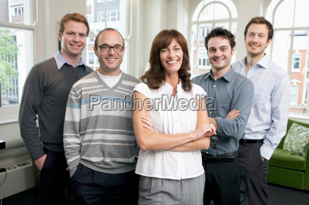 portrait of 5 business people