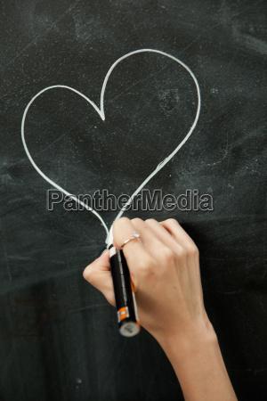 ung kvinde tegning hjerte pa tavle