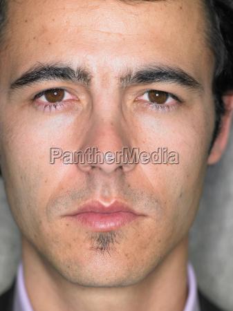 close up portrait of young mans