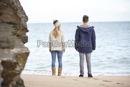 rear view of young couple looking
