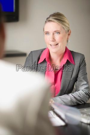 businesswoman talking in office