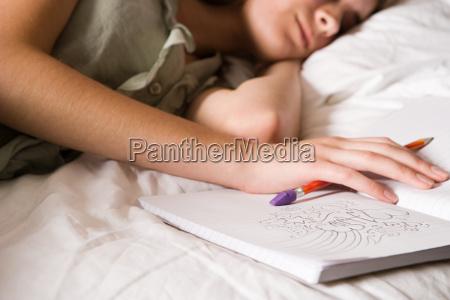 teenage girl with diary
