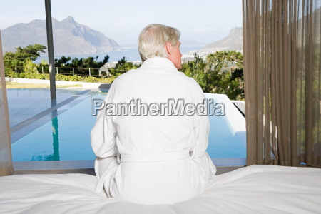 rear view of middle aged man