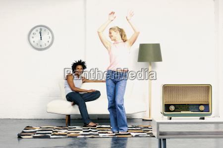 woman dancing and flirting