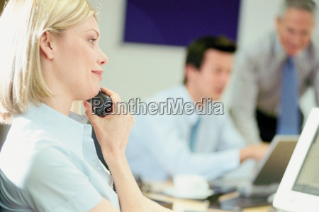 businesswoman on telephone in office