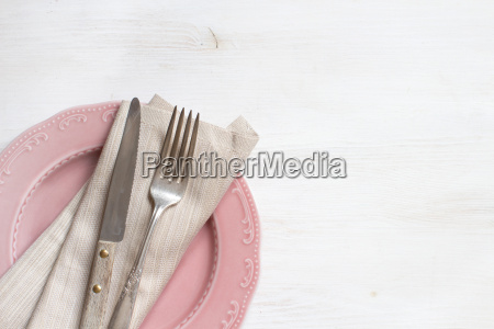 vintage fork and knife with napkin