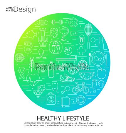 sund livsstil koncept symboler