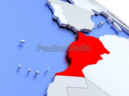 marokko, på, verdenskortet - 19129319