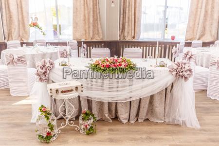 festive bord til bruden og gommen