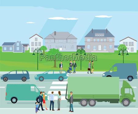 trafik, med, biler, og, mennesker - 19248419