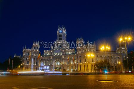 hiszpania madryt madryt ratusz noca
