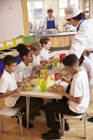 grundskole born spiser frokost i skolen