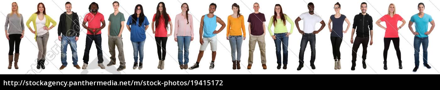 unge, mennesker, gruppe, griner, lykkeligt, multikulturelt - 19415172