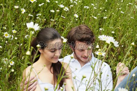 couple relaxing in field of flowers