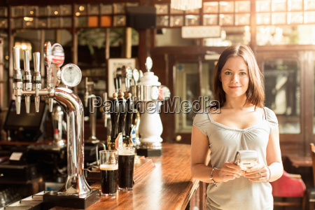 mid adult woman working in public