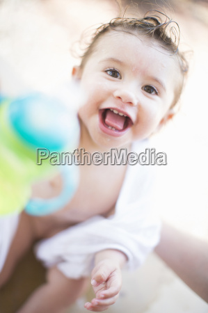 close up portrait of smiling baby